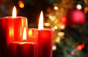 Red candles in a Christmas setting.
